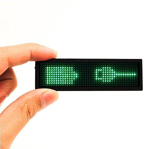 Namensschilder, SUMBAY Namensschild Digital-Rollbalken Wiederaufladbare Büro Megnetic Leuchtschild, MicroUSB Programmierung Digital Sign 11x44Dots mit Magneten und Stift, freies Laufwerk(Grün)