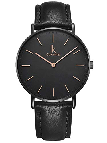 Alienwork Damen Herren Armbanduhr Quarz schwarz mit Lederarmband Ultra-flach Slim-Uhr