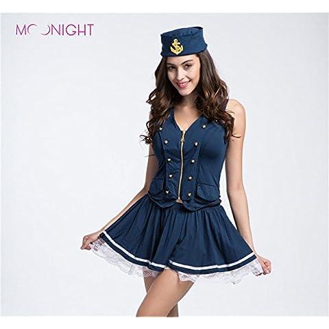 Wutly(TM) Las mujeres del traje del vestido de marinero azul marino uniformes atractivos sailorgirl capit¨¢n uniforme clubwear tentaci¨®n llevan trajes