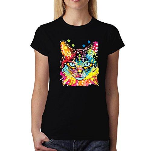 Dean Russo Katze Farbig Kubismus Damen T-Shirt Schwarz 3XL (Dean Russo Katze)