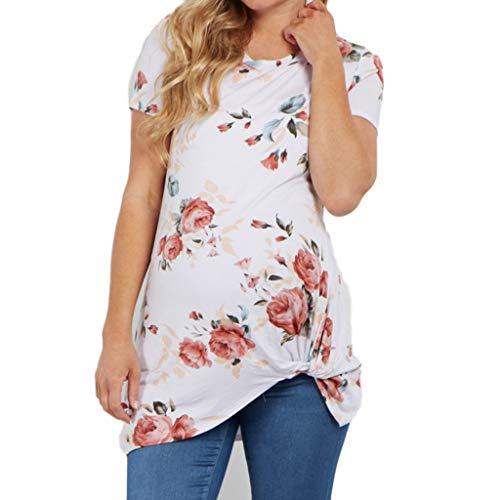 Knoten Mutterschaft Top (Amoyl Damen Mutterschaft Shirt Sommer Rundhals Kurzarm Floral Pirnt Saum Knoten Bluse Elegant Boho Shirt Top Schwangerschaft Kleidung (Weiß, M))