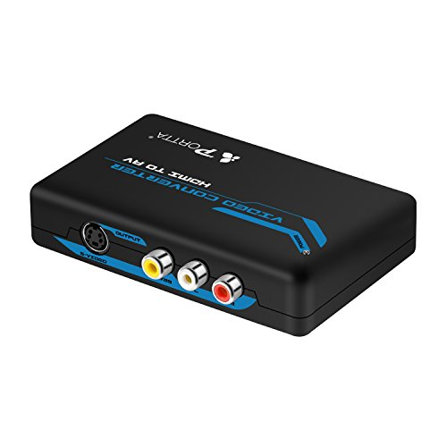Portta Converter HDMI zu AV/CVBS Composite-Cinch + S-Video Converter v1.3 unterstützt 1080p