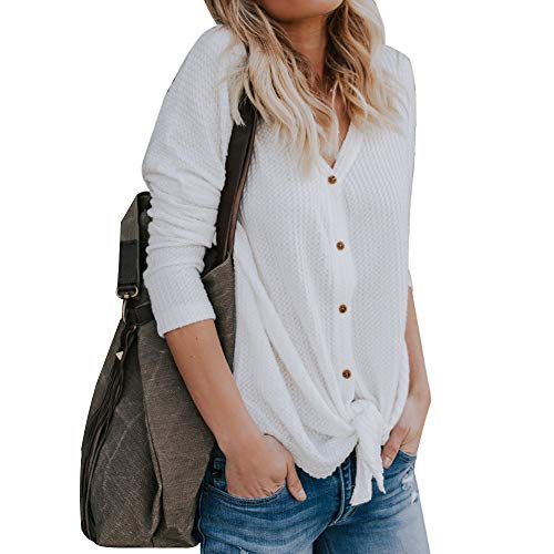 Vertvie Damen Pullover V-Ausschnitt Langarm Einfarbig Shirt Oberteile Hemd Sweatshirt Tops Loose Strickpullover Pulli Bluse(Weiß, M)