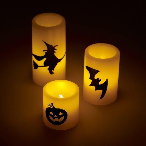 Juego de 3velas LED para Halloween.