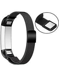 Fitbit Alta HR Correa, Malloom Milanese magnético lazos bandas de elegante reloj de acero inoxidable + Conector para Fitbit Alta HR (Negro)