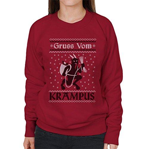 Cloud City 7 Gruss Vom Krampus Christmas Knit Pattern Women's Sweatshirt (Krampus Weihnachten Pullover)