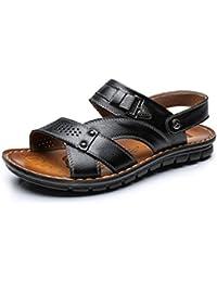 Feidaeu Sandale Homme Cuir Plage Été Randonnée Sport Marche Extérieurs Légère Confort Ouvert Plate Chaussure Surf Piscine kACKqXafT