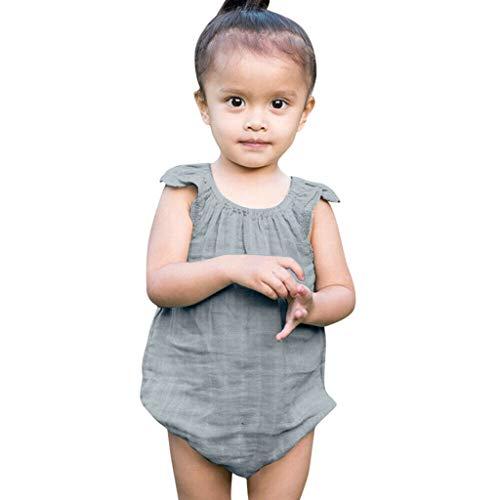Livoral Baby badewanne Sommer-Säuglingsbaby-Jungen u. Mädchen-Fliegen-Hülsen-Rüschen-Fester Spielanzug-Bodysuit + Stirnband(Grün,100)