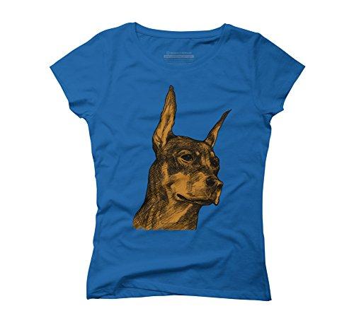 Doberman Is Guard Dog Women's 2X-Large Royal Blue Graphic T-Shirt - Design By Humans