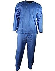 Herren Schlafanzug Pyjama Zweiteiler lang 2-tlg mit V-Ausschnitt Nr. 4674