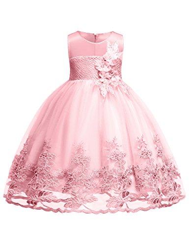 Hibelle Kinder Party Kleider für Mädchen Prinzessin ärmellos Spitzenkleid Taufe Elegante Kleider Verschönert mit 3D Blume Ein Linienkleid Kleider Größe (100) 2-3 Jahre Rosa Kleid