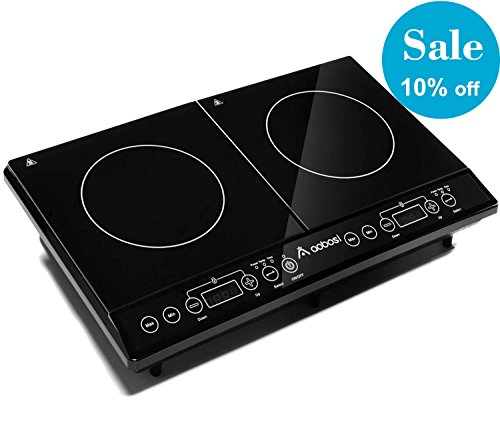 Aobosi Double Induction Hob, 2800w, Portable Digital Electric Cooker, Sensor Touch Control,Crystal Glass plate