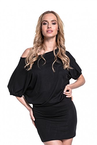 Glamour Empire. Femme Robe Jersey Demi-Manches Chauve-Souris Mini Longueur. 700 Noir