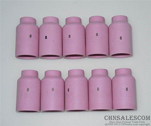 Equipos de soldadura CHNsalescom 10 pcs #6 10N48 Alumina Nozzle Cups for WP-17 WP-18 WP-26 9.5mm 3/8