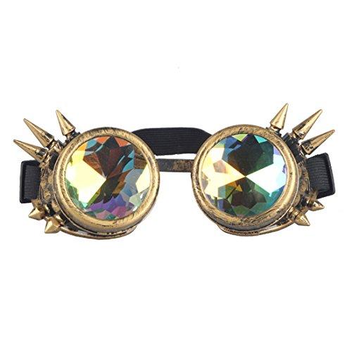 Hombres Mujeres Retro Glasses Caleidoscopio de lentes Remache de Steampunk al viento espejo Vintage gótico gafas