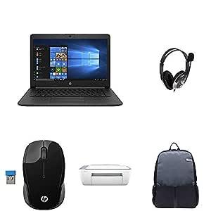 HP 14 7th Gen Intel Core i3 Processor 14-inch Thin and Light Laptop (8GB/256GB SSD/Windows 10 Home/MS Office/Jet Black/1.43 kg), 14q-cs0023TU + Headset + Bag + Printer + Mice + Monitor