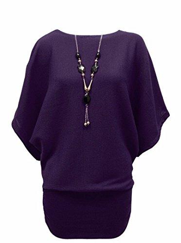 Womens Plus Size maglia rimovibile Collana Maglione Batwing Top Viola