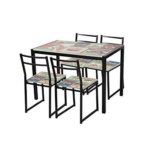 Merkahome - Conjunto de Mesa 110x70 cm y sillas Cocina Modernas ...
