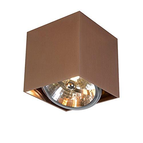 QAZQA Design / Modern / Spot / Spotlight / Deckenspot / Deckenstrahler / Strahler / Lampe / Leuchte Box 1 kupfer / Innenbeleuchtung / Wohnzimmer / Schlafzimmer / Küche Metall Würfel G53 Max. 1 x 50 Wa