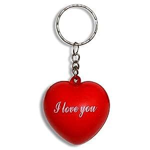 """25 x HC-Handel 910718 Schlüsselanhänger Schlüssel Herz """"I Love You"""" 4 cm rot"""