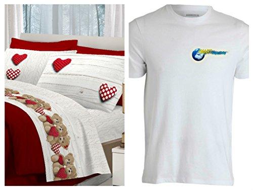 Completo lenzuola matrimoniale - orsetti cuori cuore rosso - moderno e chic - in cotone italiano - made in italy - prodotto di qualità animali & coccole