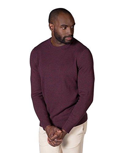 WoolOvers Baumwollpullover mit Rundhalsausschnitt in gedrehten Farben für Herren Burgundy
