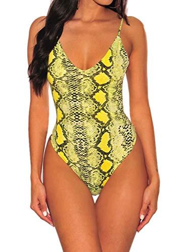 SEBOWEL Damen Stehkragen Leopard Drucken Kurze Ärmel Bodysuit Club Party Body Schmal geschnittenes T-Shirt braun s Leopard Trenchcoat