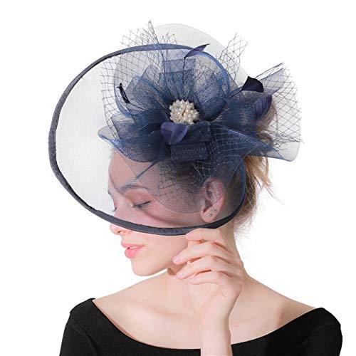 HFJ&YIE&H Damen Fascinator Blumen Netz Braut Kopfschmuck Haar Clip Hut Feder Haarschmuck Kopfbedeckung für Party Kirche Hochzeit Cocktail Jockey Club