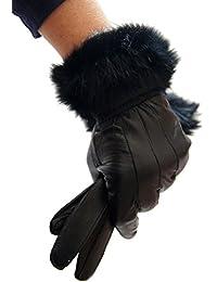 Gants femme cuir et fourrure noir double polaire