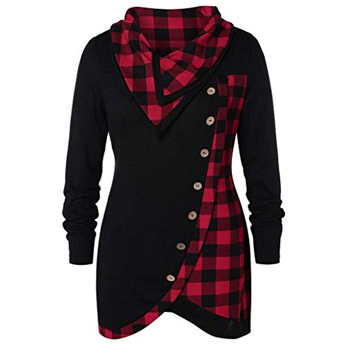 Damen Langarm Tunika Tops Plus Größe Frauen Plaid Print Bluse T-Shirt Lose Taste Asymmetrischer Saum Jumper Pullover Plus Größe S-2XL