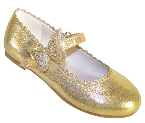 Zapatos de Bailarina Dorados con Adornos de Mariposas para niñas, Color Dorado, Talla 24 EU