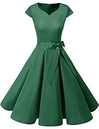 Dresstells Damen Vintage 50er Cap Sleeves Rockabilly Swing Kleider Retro  Hepburn Stil Cocktailkleid b2d7ae83f2
