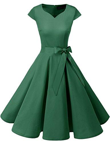 Dresstells Damen Vintage 50er Cap Sleeves Rockabilly Swing Kleider Retro Hepburn Stil Cocktailkleid Green XL -