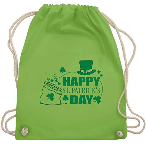 St. Patricks Day - Happy St. Patrick's Day Kleeblätter - Unisize - Hellgrün - WM110 - Turnbeutel & Gym Bag (Happy Days Kostüm)