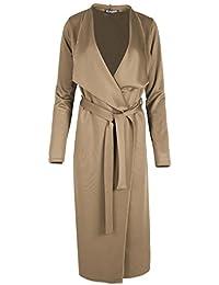 f1fe42f38c3 Womens Duster Waterfall Tie Belt Italian Cape Ladies Cardigan Maxi Trench  Coat Plus Size (UK