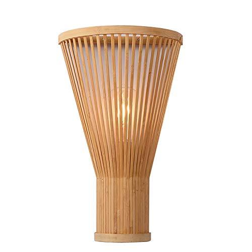 Antik Wandleuchte Schlichtes Flair Design Wandlampe Bambus Lampenschirm Charmanten Helles Licht Ausleuchten Nachttischlampe für Interior, Restaurant, E27 -