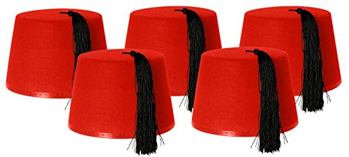 5 X RED FEZ HAT