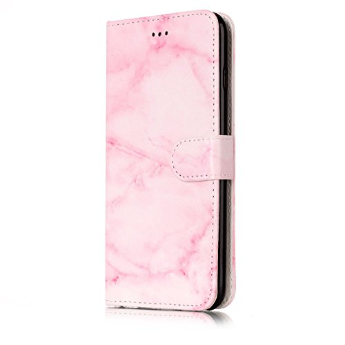 iPhone 6/6S Leather Case,iPhone 6/6S Coque Portefeuille,Hpory élégant Fashion 3D Design Colorful Painted with Lanyard PU Cuir Case Book Style Folio Stand Fonction Support PU Leather Walllet Case with  Marbre, Rose