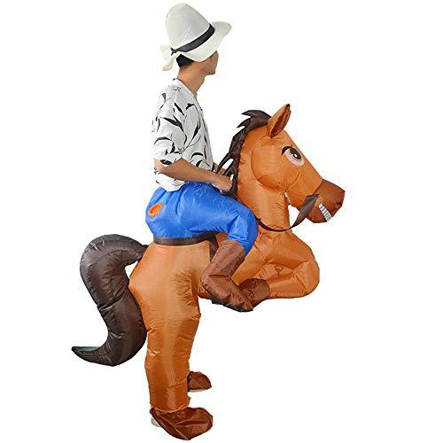 Liergou-JR Aufblasbares Kostüm Erwachsenes aufblasbares Pferd und Cowboykostüm Halloween-Abendkleid-Explosions-Partei-Cosplay-Kostüm Aufblasbares Cowboy-Reiter-Kostüm mit einem Hut (Gutes Pferd Und Reiter Kostüm)