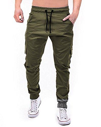StyleDome Herren Jogginghosen Camouflage Hose Lange Cargo Chinohose Jogger Tarnung Pants (M, Armeegrün 4)