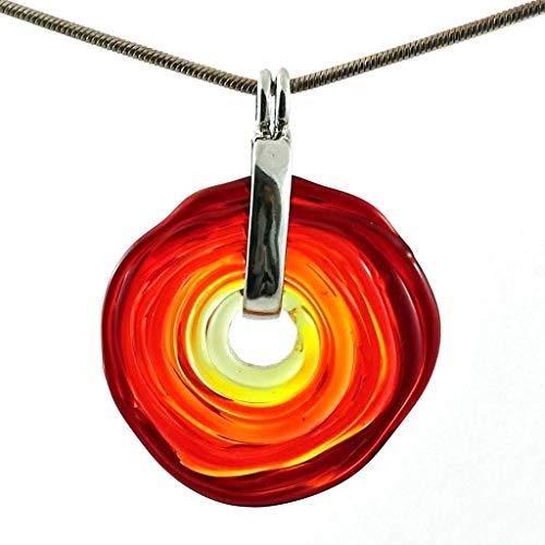Kette in Rot-Tönen mit Anhänger aus Murano-Glas   Glas-Wechsel-Schmuck   Unikat handmade   Geschenk zum Jahrestag Hochzeit Geburtstag Weihnachten Mama   Personalisiertes Geschenk