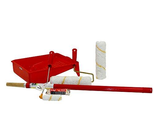 Dekor Kleines 6-teiliges Profi Maler Farb Set inklusive Walzen mit Ersatzrolle Farbwanne & Teleskopstange ISO9001-2008