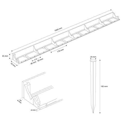 HOLZBRINK Rasenkante Wurzelsperre PVC Leiste inkl. Anker, Höhe: 45mm, HRK01B-45