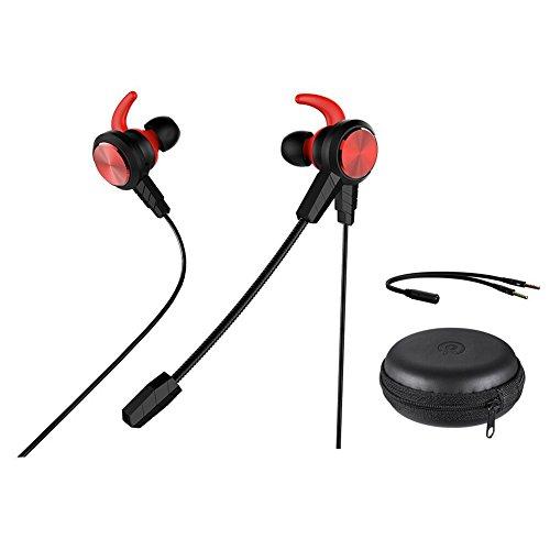 Wired Gaming in-Ear, qltech in-Ear Gaming Kopfhörer Stereo-Kopfhörer mit abnehmbarem & Noise Cancelling Mikrofon, mit Chat Headset für Smartphone PC E-Sport-Xbox One PS4Nintendo Schalter (rot)