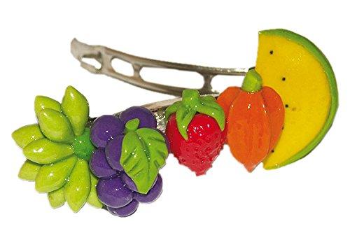 Fimo Obstmix - Fruchtige Geschenkidee - Original ERRO Haarspange - Haarklammer, Kopfschmuck, Haarclip als Weihnachtsgeschenk oder Geburtstagsgeschenk