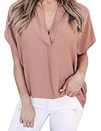 Kimodo T Shirt Bluse Damen Top Sommer Chiffon Kurzarm Freizeithemd Mode 2019 5387d83635