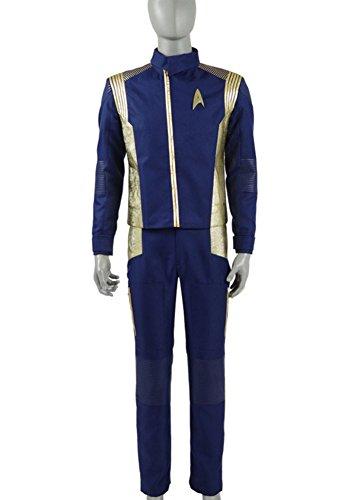 Herren Blau Gold Anzüge Shirt Hose Abzeichen Halloween Cosplay Kostüme (XL, Blau) (Herren Gold Anzug Kostüm)