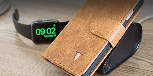 iPhone 6S Ledertashe Hülle Echtem Leder. Qi drahtlose Aufladen Empfänger. Brieftasche mit Bargeld / Visitenkartenslot, Braun von TORRO Braun