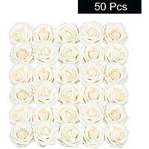Rosas Artificiales (50 Piezas) - Flores Espuma Crema con Tallo (18,5cm