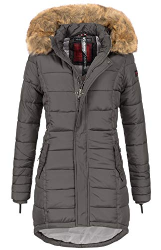 Navahoo Papaya Damen Winter Jacke Steppjacke Mantel Parka gesteppt warm B374 (XS, Anthrazit)